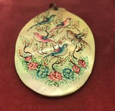 Vintage Necklace Pendant Painted Shell Birds Handmade