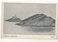 Mumbles Lighthouse Swansea South Wales Vintage U/B Postcard 871b