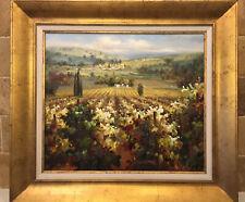 Modern Impressionism Landscape Oil on Canvas Painting-Vineyard. C. Lewis