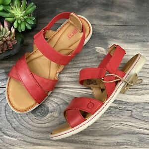 NEW Born Springs Strappy Flat Sandal Red Leather Womens 8M