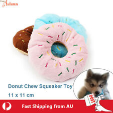 Dog Chew Donuts Toy Soft Squeaky Pet Puppy Squeaker Plush Training 11cm Fluffy