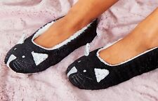 Ladies Enchanting Animal Cat Character Ballet Slip On Slippers Black Glitter