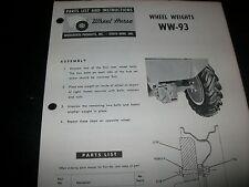 wheel horse, parts list & instructions WHEEL WEIGHTS WW-93