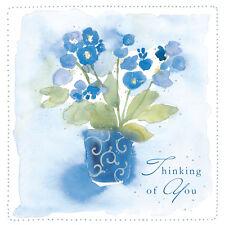 """Thinking Of You Carte """" Fleurs Bleues Design """" Carré Taille 12.1X12.1cm EFM120"""