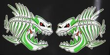 "(2) Skeleton Fish Vinyl Decals  Boat Car Truck 6"" x 5.75""  3M REFLECTIVE Green"