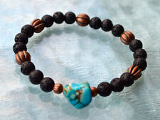 Grounding 8mm Black Basalt Lava Stone Turquoise Wrist Mala Beads Bracelet