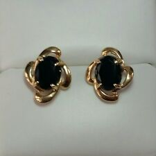 14K Yellow Gold Natural Black Onyx Post Butterfly Earrings/ Aretes de Oro