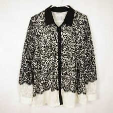 Charter Club Women's Plus Black White Lace Top Blouse Long Sleeve Stretch Sz 1X