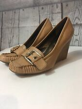 Jessica Simpson Manny women's  Tan Leather Wedge Slip On heels Shoes 6.5