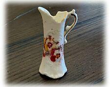 """Antique Porcelain 1:6 Dollhouse Miniature Victorian 3"""" Pitcher Floral Decal Gold"""