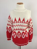 Vintage Miss Holly Women's M Sweater Fair Isle Chunky Knit Turtleneck Ski