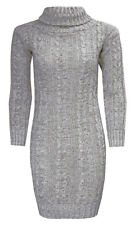 WOMENS LADIES CABLE KNITTED POLO ROLL NECK LONG SLEEVES TRETCH JUMPER DRESS 8-22