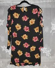 Nicole Miller black floral peony graphic designer midi dress NEW sz 10