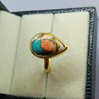 Pear Gemstone Oyster Turquoise Ring 925 Sterling Silver Gold Plated Ring For Her