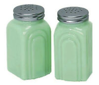 """NEW Jadeite Green Glass Arch 3 3/4"""" H Salt & Pepper Shakers NO LETTERING"""