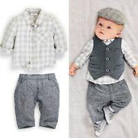 Fashion Newborn Baby Boy Gentleman Waistcoat+ Pants+ Shirt Outfit Clothes Sets