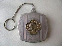 Antique Art Nouveau Gold T Woman Silver Fob Bar Chain Finger Ring Dance Compact