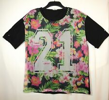 BLACK PINK WHITE GREEN MESH SHEER FLORAL FRONT SIZE 20 ATMOSPHERE STRETCH CASUAL