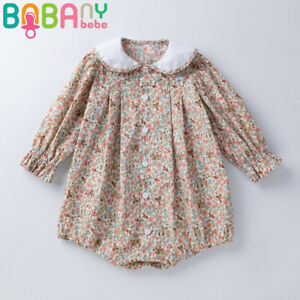 Baby Girls Floral Jumpsuit Playsuit Kids Long Sleeve Fashion New Romper Outfits