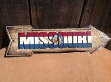 """Missouri State Flag This Way To Arrow Sign Directional Novelty Metal 17"""" x 5"""""""