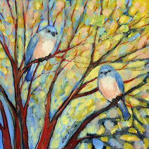 "Two Bluebirds, Jennifer Lommers, Art Print Poster 14"" x 11""    4465"