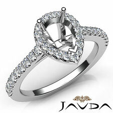 Pear Diamond SemiMount Engagement Shared Prong Setting Ring 18k White Gold 0.5Ct