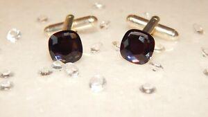 S/P Cufflinks & 10mm Graphite Black Square Cushion Crystals -Formal Wear-Wedding
