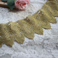 """4.92""""*2Yds  Victorian Antique Gold Embroidery Lace Trim in Metallic Gold"""