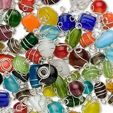 50* Silver Plated Wire Wrapped Mixed Shapes Jewelry Glass Beads