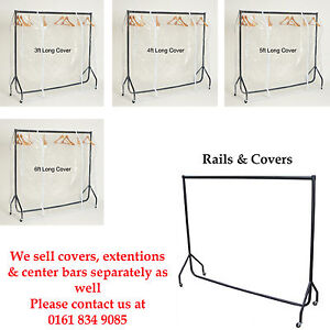 3ft, 4ft, 5ft, 6ft HEAVY DUTY GARMENT RAIL SHOP DISPLAY WITH COVERS