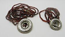 Vintage 925 Sterling Silver Garnet beads Pendant Necklace & Bracelet Signed