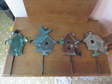 Set of 4 Metal Interlocking Yard Garden Stakes Birds Houses
