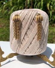 Vintage Corocraft Goldtone Chain Tassel Dangle Clip On Earrings