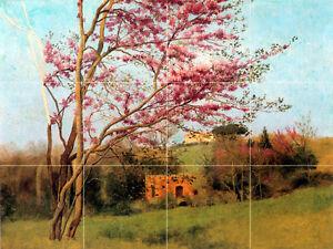 Art John Godward Blossoming Red Almond Mural Ceramic Backsplash Bath Tile #1402