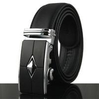 Cool Men's Leather Belt Automatic Buckle Belt Ratchet Strap Black Golf Casual