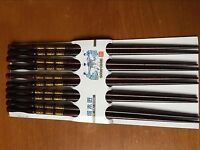 NEW 5 Pairs Chopsticks Classic Bamboo Wood Assorted Chinese multicolor pattern