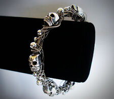 Deluxe GUITAR STRING Bracelet w/ Tibetan Silver Skulls