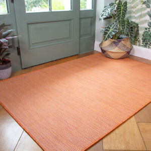 Plain Orange Outdoor Rug Plastic Flatweave Washable Rugs Zero Pile Hall Runners