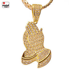 "Men's Micro Pave Iced Gold Tone Pray Hand Pendant 24"" Chain Necklace BCH 1154 G"