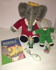 Babar The Elephant Toys Lot Book, Stamp, Figure , Gund Christmas Plush Toys