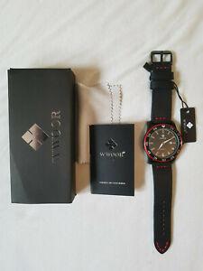 Armbanduhr Taucher-Militär-Stil, schwarz, rot, Herren, Uhr, neu