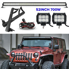 "52"" 700W +18W LED Light bar+Mount Bracket Fit For Jeep Wrangler JK 07~17 Rubicon"