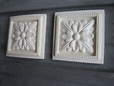 TWO SQUARE FLOWER CORNERS/FURNITURE/FIREPLAC/ MOULDINGS