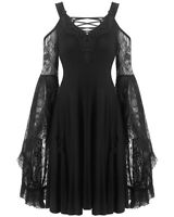 Dark In Love Gothic Skater Dress Black Lace Up Long Sleeve Witch Occult Vampire