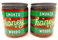 2 BATH & BODY WORKS SMOKED HONEY WOODS SCENTED 1 WICK 7oz CANDLE 14oz TOTAL NEW!