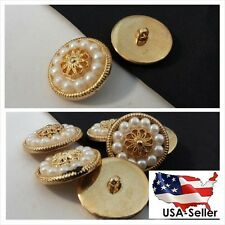 12-gold-floral-design-faux-pearl-self shank button 25 mm US SHIPPER