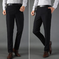 Mens Slim Fit Skinny Pencil Pants Business Formal Dress Casual Long Trousers