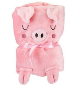 Bnwt Sass & Belle Oink The Piglet Pink Soft Fleece Baby Blanket