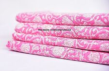 Indian Hand Block Print 100% Cotton Fabric 10 Yard Pink Sanganeri Print Fabric