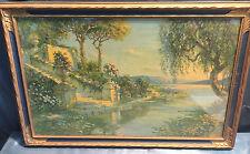Antique Original Landscape Print A.D. Rahn Art Deco Nouveau Framed